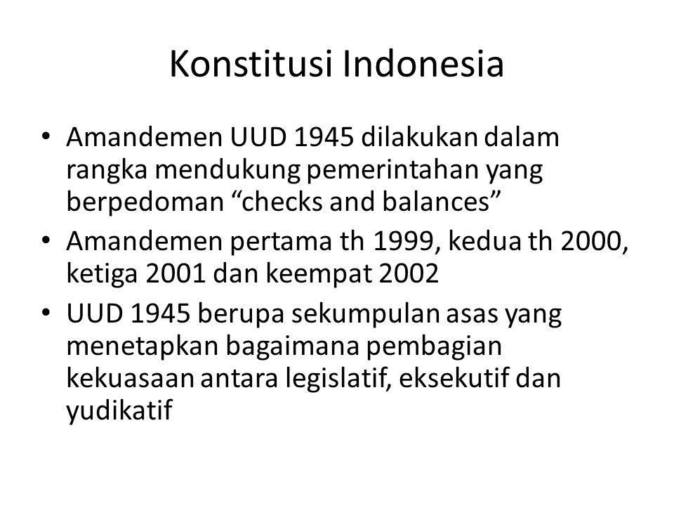 Konstitusi Indonesia Amandemen UUD 1945 dilakukan dalam rangka mendukung pemerintahan yang berpedoman checks and balances