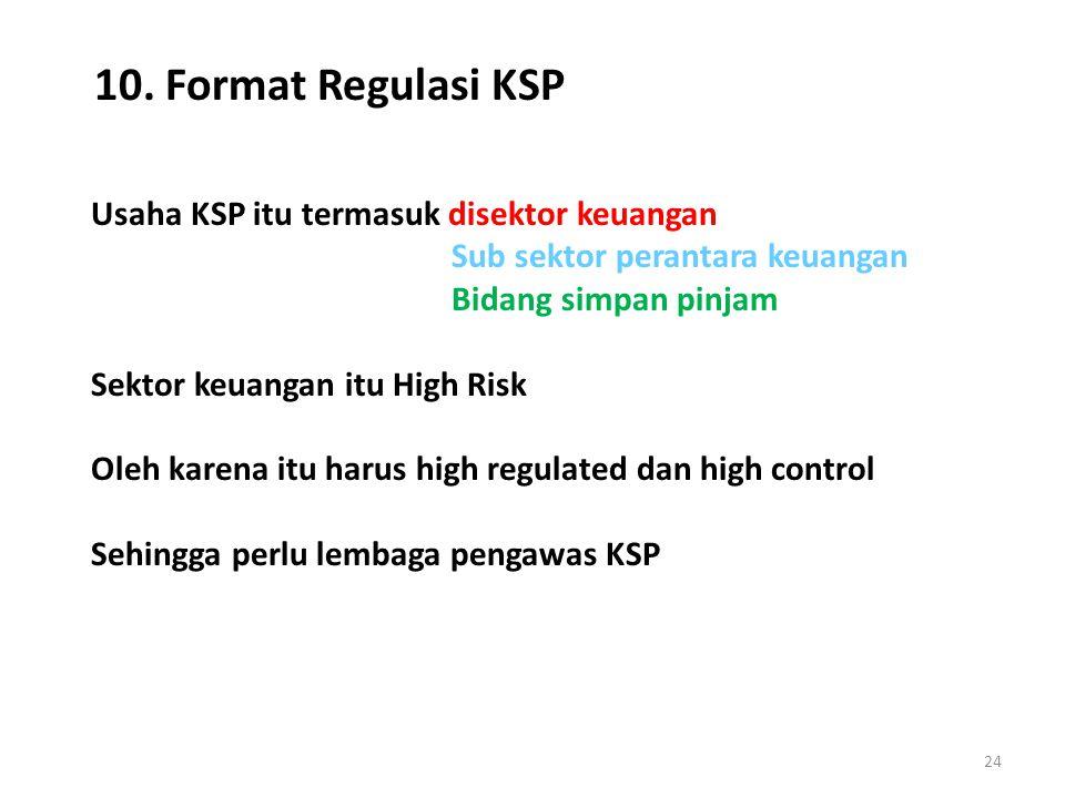 10. Format Regulasi KSP Usaha KSP itu termasuk disektor keuangan