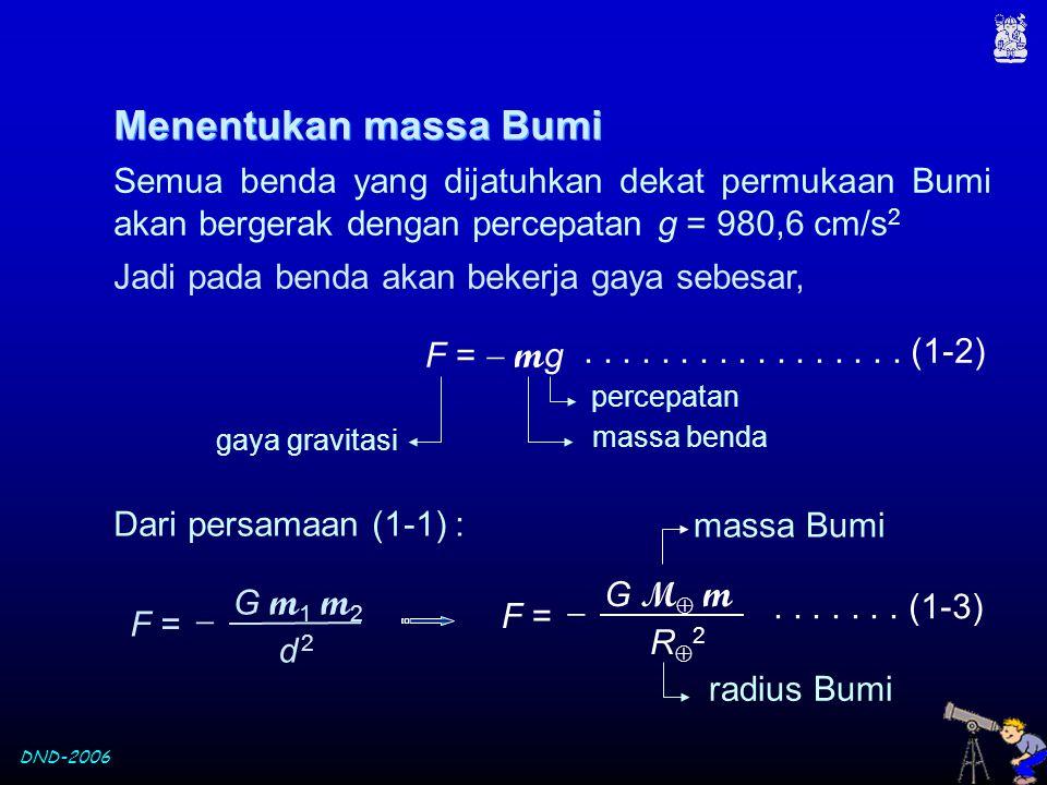 Menentukan massa Bumi Semua benda yang dijatuhkan dekat permukaan Bumi akan bergerak dengan percepatan g = 980,6 cm/s2.