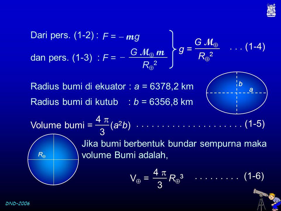 Radius bumi di ekuator : a = 6378,2 km