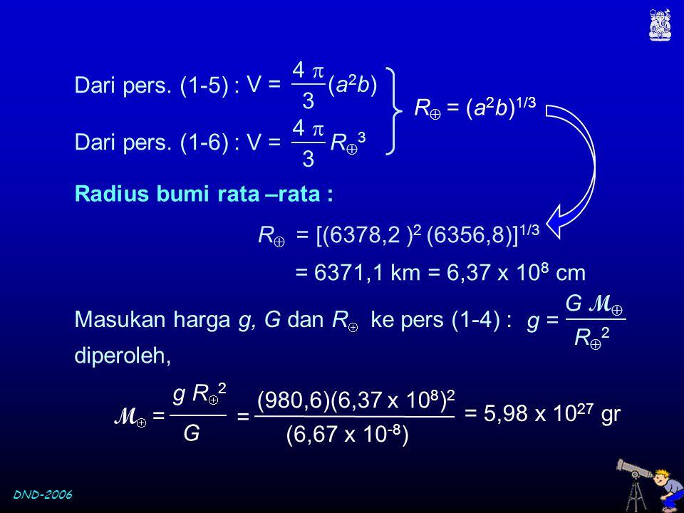 4  3. V = (a2b) Dari pers. (1-5) : R = (a2b)1/3. 4  3. V = R3. Dari pers. (1-6) : Radius bumi rata –rata :