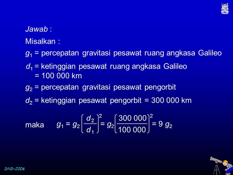 g1 = percepatan gravitasi pesawat ruang angkasa Galileo