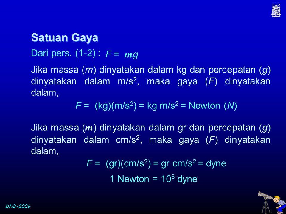 Satuan Gaya Dari pers. (1-2) : F = mg