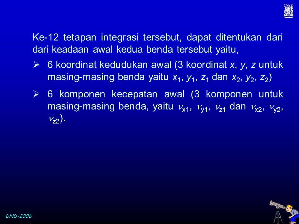 Ke-12 tetapan integrasi tersebut, dapat ditentukan dari dari keadaan awal kedua benda tersebut yaitu,