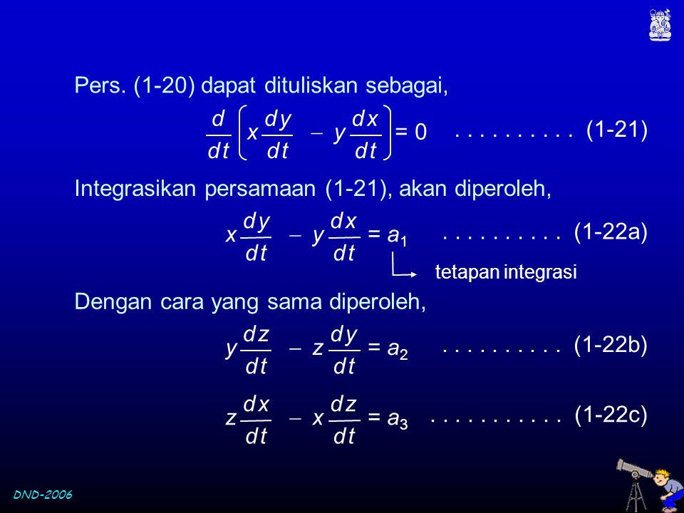 Pers. (1-20) dapat dituliskan sebagai,