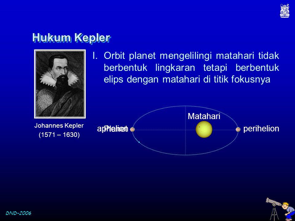 Hukum Kepler Orbit planet mengelilingi matahari tidak berbentuk lingkaran tetapi berbentuk elips dengan matahari di titik fokusnya.