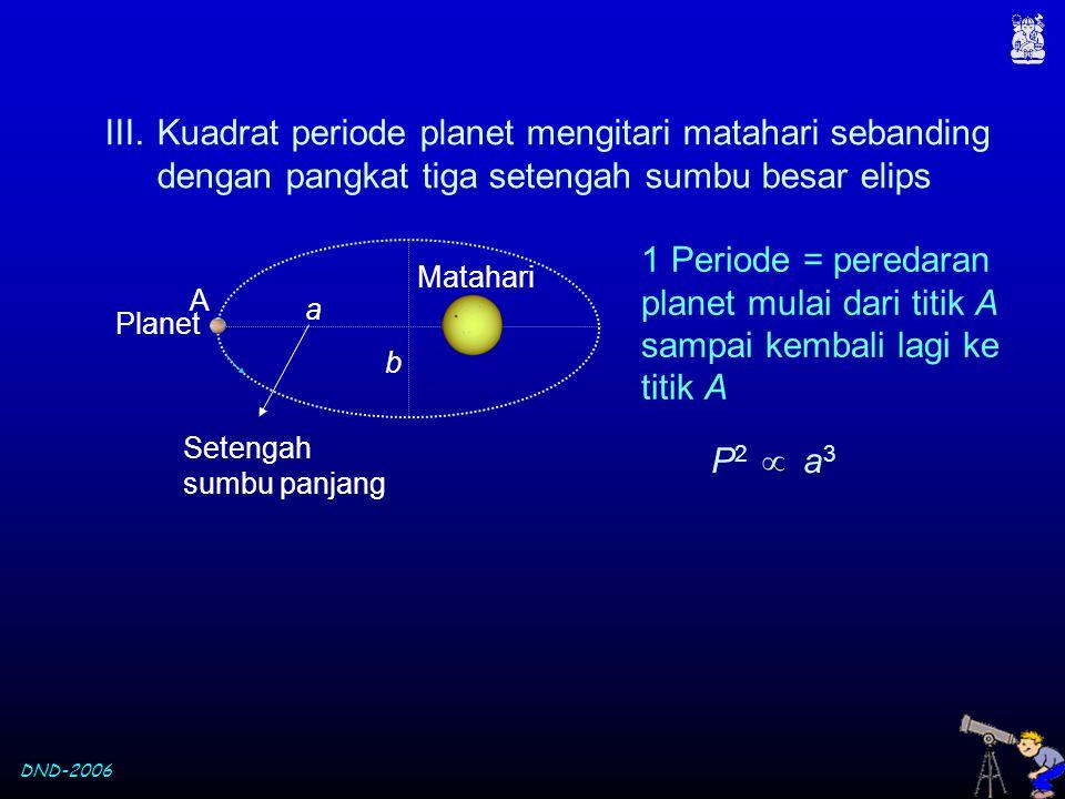 Kuadrat periode planet mengitari matahari sebanding dengan pangkat tiga setengah sumbu besar elips