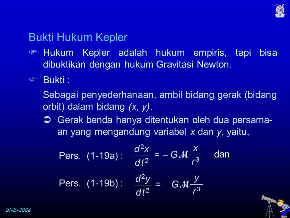 Bukti Hukum Kepler Hukum Kepler adalah hukum empiris, tapi bisa dibuktikan dengan hukum Gravitasi Newton.