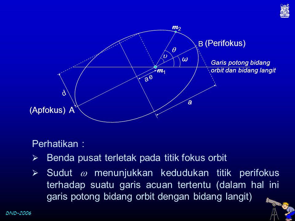 Benda pusat terletak pada titik fokus orbit