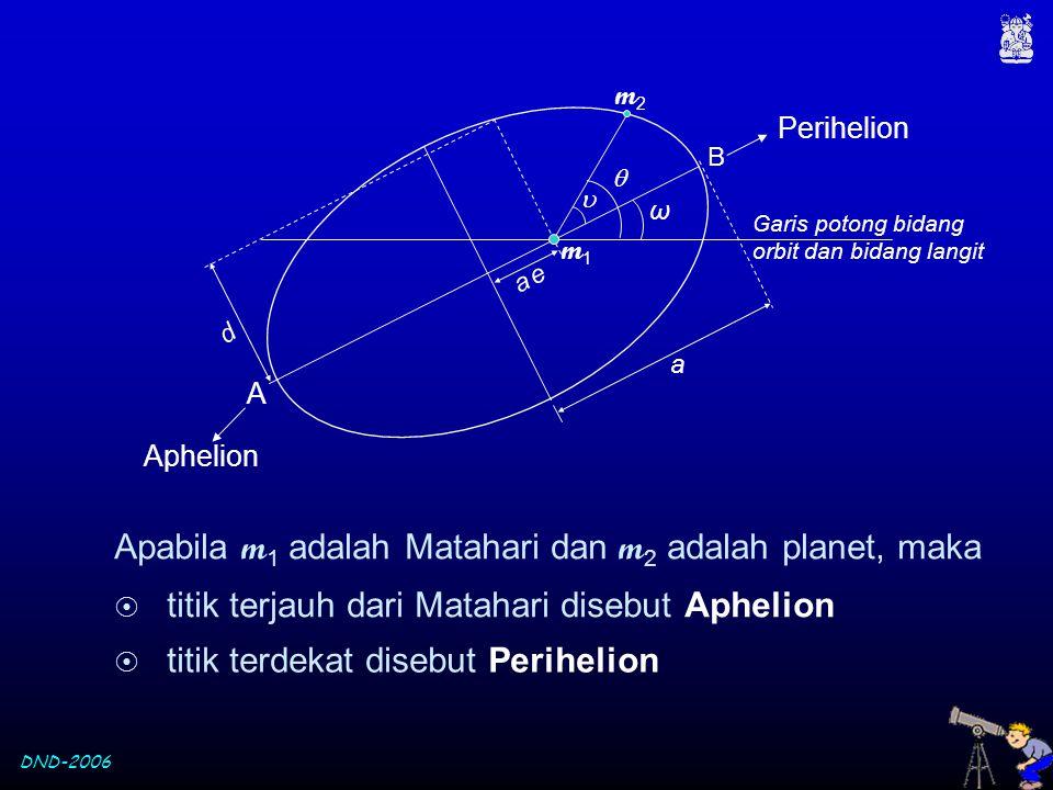 Apabila m1 adalah Matahari dan m2 adalah planet, maka