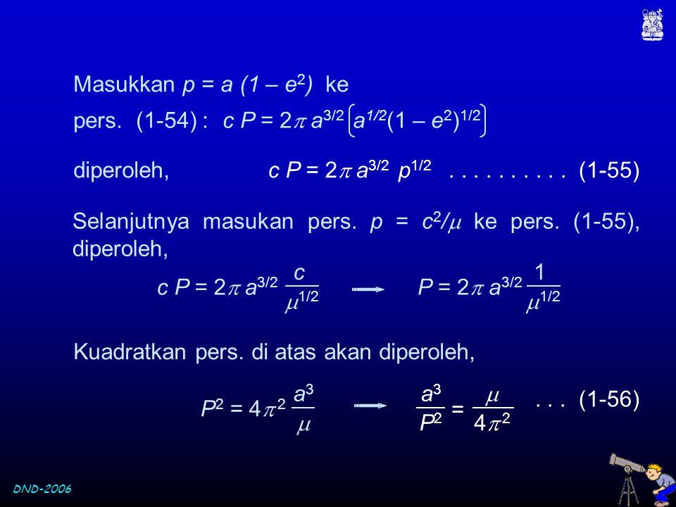 Masukkan p = a (1 – e2) ke pers. (1-54) : c P = 2 a3/2 a1/2(1 – e2)1/2. diperoleh, c P = 2 a3/2 p1/2.