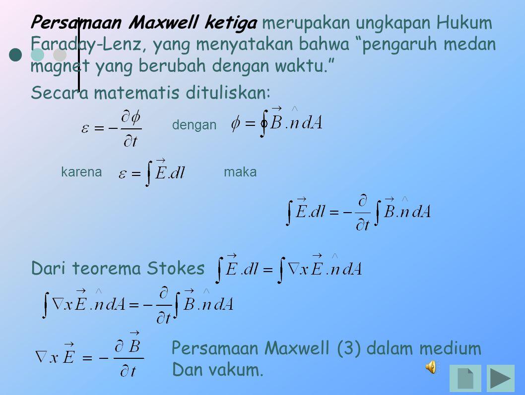 Persamaan Maxwell ketiga merupakan ungkapan Hukum