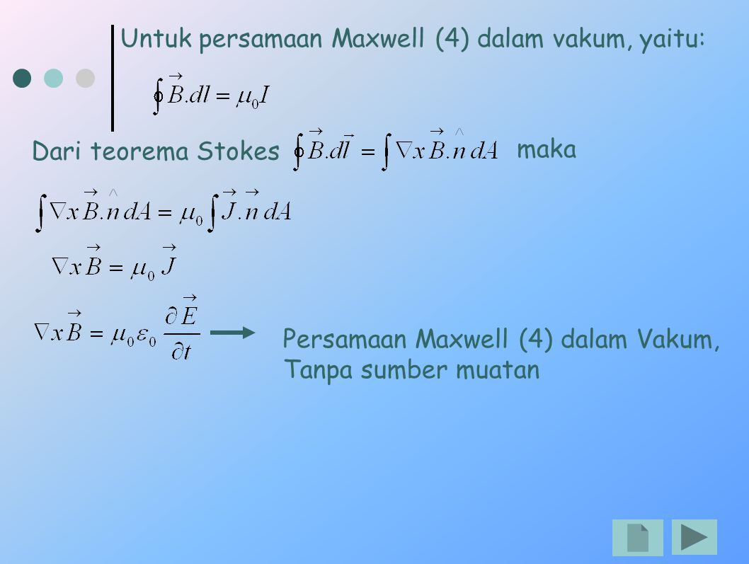 Untuk persamaan Maxwell (4) dalam vakum, yaitu: