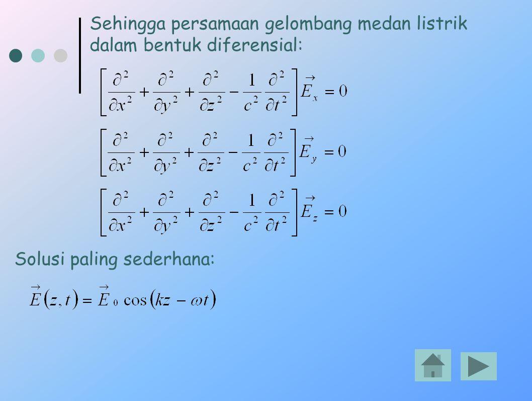 Sehingga persamaan gelombang medan listrik