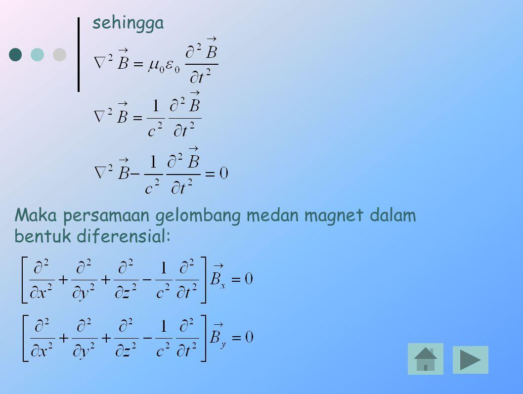 sehingga Maka persamaan gelombang medan magnet dalam bentuk diferensial: