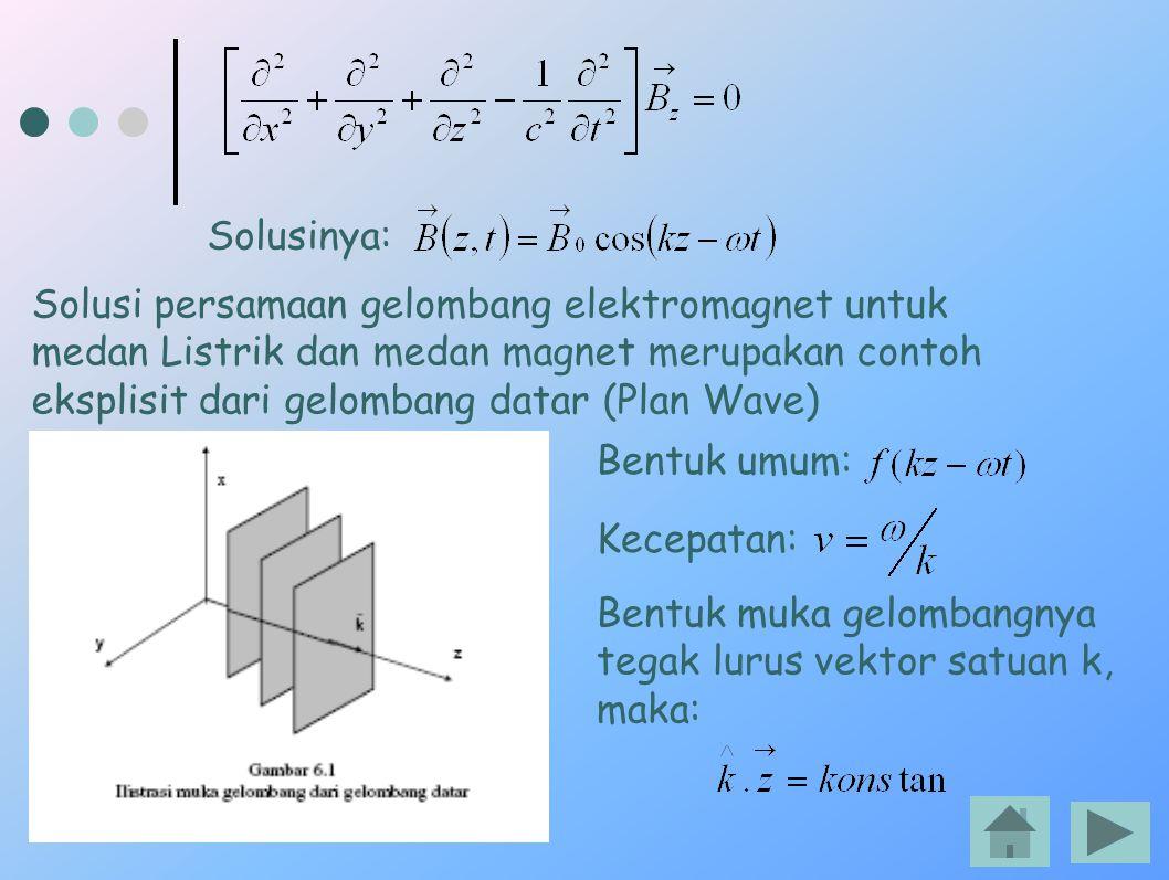 Solusinya: Solusi persamaan gelombang elektromagnet untuk medan Listrik dan medan magnet merupakan contoh eksplisit dari gelombang datar (Plan Wave)