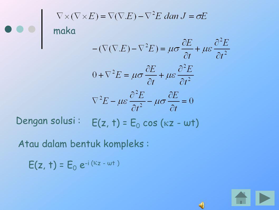 maka Dengan solusi : E(z, t) = E0 cos (kz - ωt) Atau dalam bentuk kompleks : E(z, t) = E0 e-i (kz - ωt )