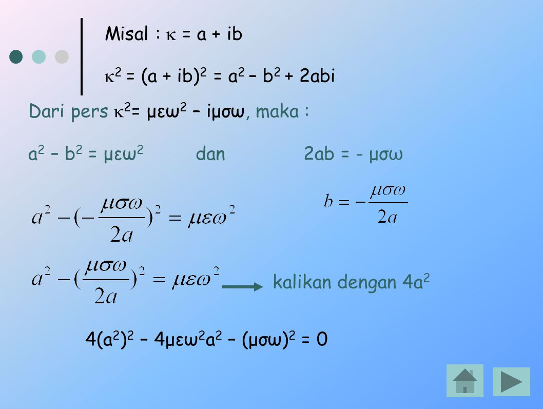 Misal : k = a + ib k2 = (a + ib)2 = a2 – b2 + 2abi. Dari pers k2= μεω2 – iμσω, maka : a2 – b2 = μεω2 dan 2ab = - μσω.