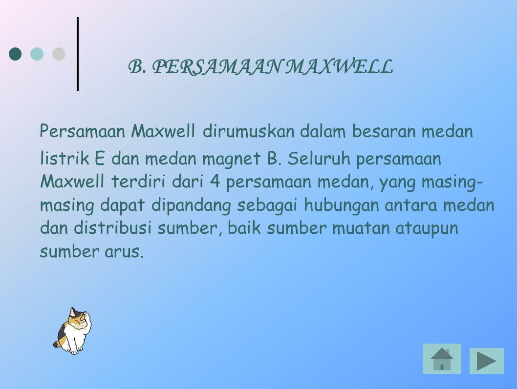 B. PERSAMAAN MAXWELL Persamaan Maxwell dirumuskan dalam besaran medan