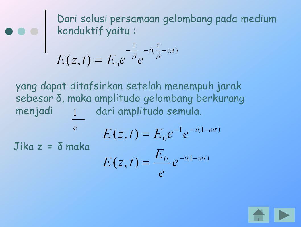 Dari solusi persamaan gelombang pada medium