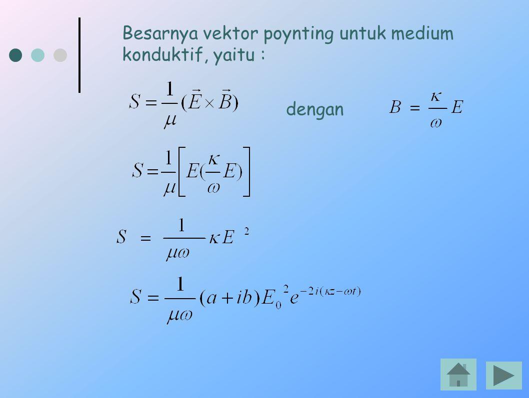 Besarnya vektor poynting untuk medium