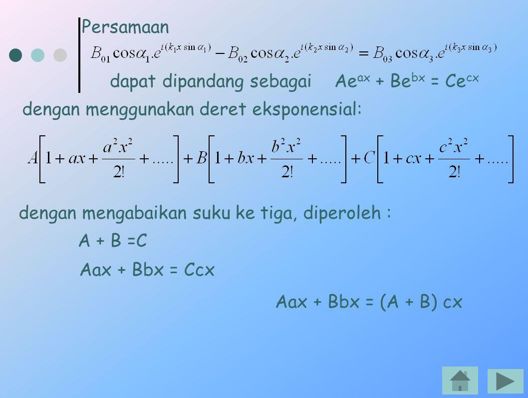 Persamaan dapat dipandang sebagai Aeax + Bebx = Cecx. dengan menggunakan deret eksponensial: dengan mengabaikan suku ke tiga, diperoleh :