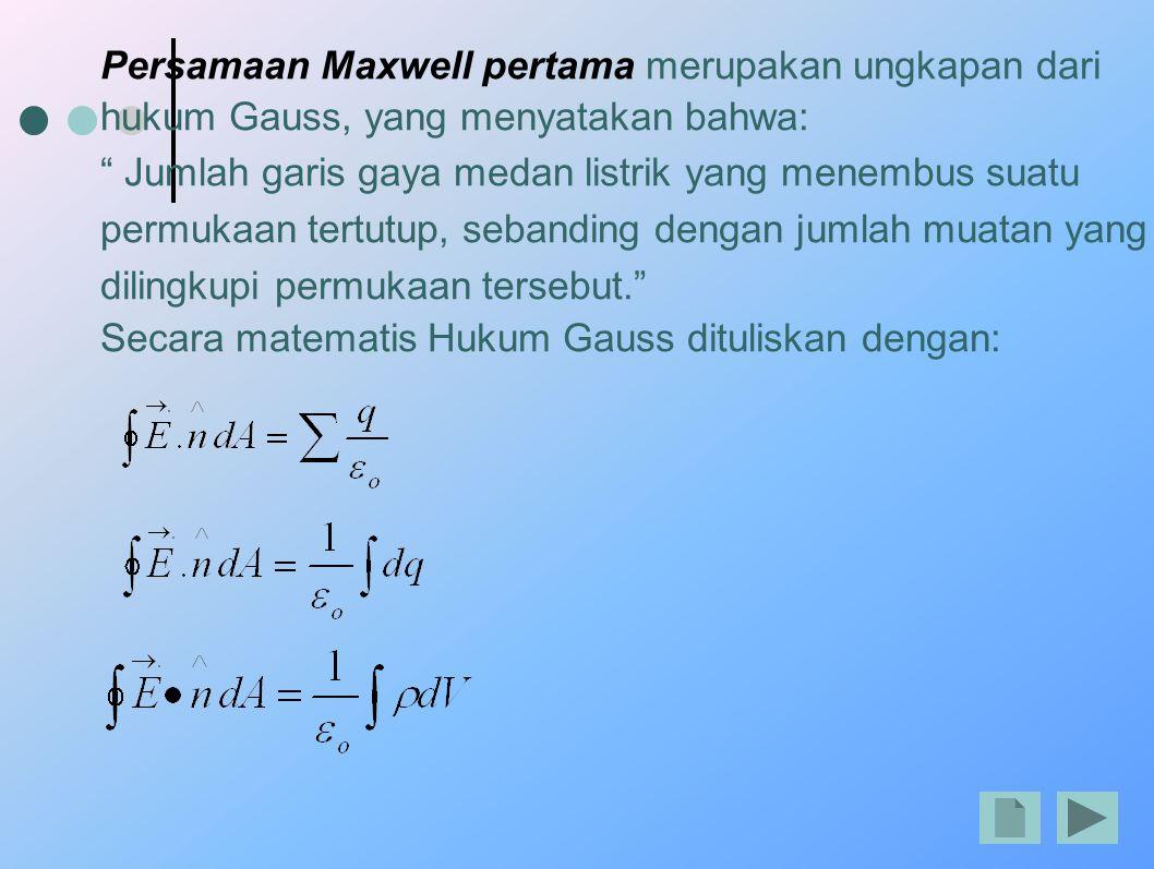 Persamaan Maxwell pertama merupakan ungkapan dari hukum Gauss, yang menyatakan bahwa: