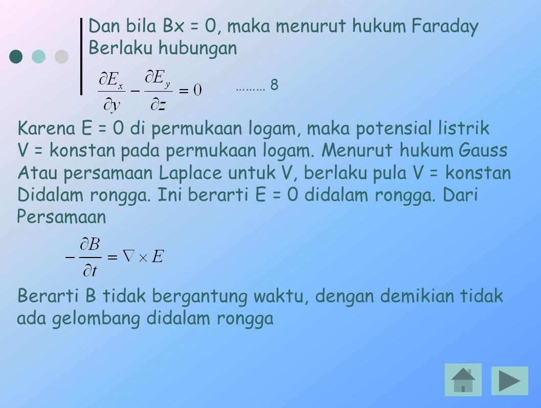 Dan bila Bx = 0, maka menurut hukum Faraday Berlaku hubungan