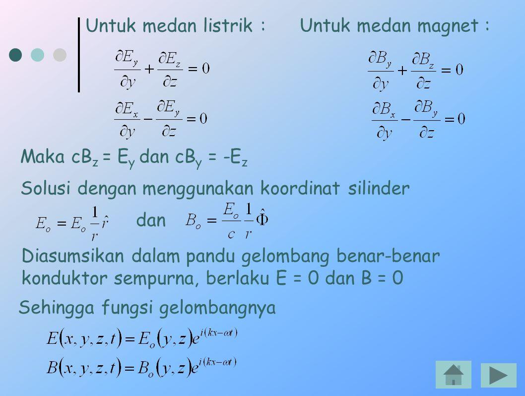 Untuk medan listrik : Untuk medan magnet : Maka cBz = Ey dan cBy = -Ez. Solusi dengan menggunakan koordinat silinder.