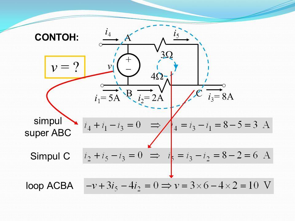 v = +  3 4 v i4 i1= 5A i3= 8A A B C i5 i2= 2A CONTOH: