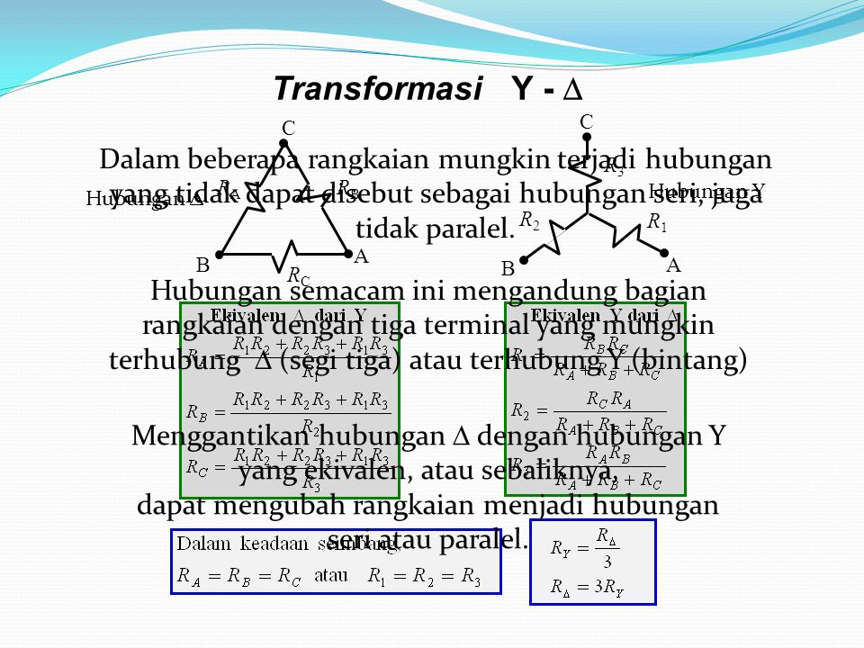 Transformasi Y -  R3. A. B. C. R1. R2. RC. A. B. C. RA. RB.