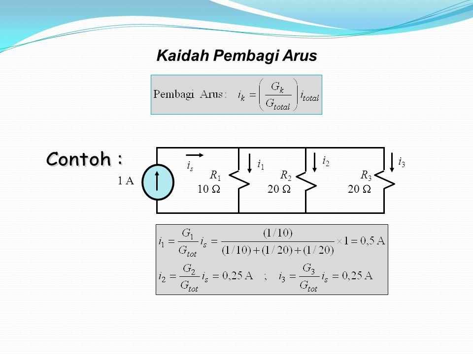 Kaidah Pembagi Arus R1 10  1 A R2 20  R3 is i1 i2 i3 Contoh :
