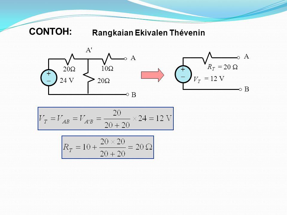 CONTOH: Rangkaian Ekivalen Thévenin 24 V 20 10 A B +  A A B +  RT