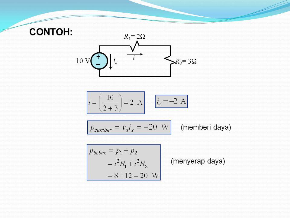 CONTOH: 10 V R1= 2 R2= 3 + _ i is (memberi daya) (menyerap daya)