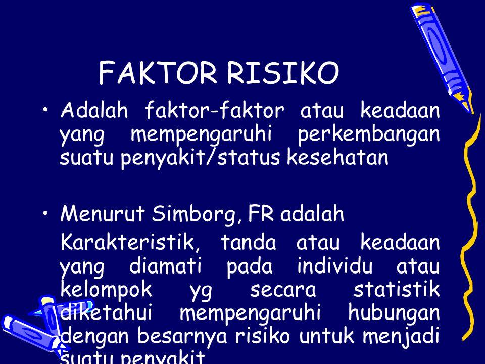 FAKTOR RISIKO Adalah faktor-faktor atau keadaan yang mempengaruhi perkembangan suatu penyakit/status kesehatan.