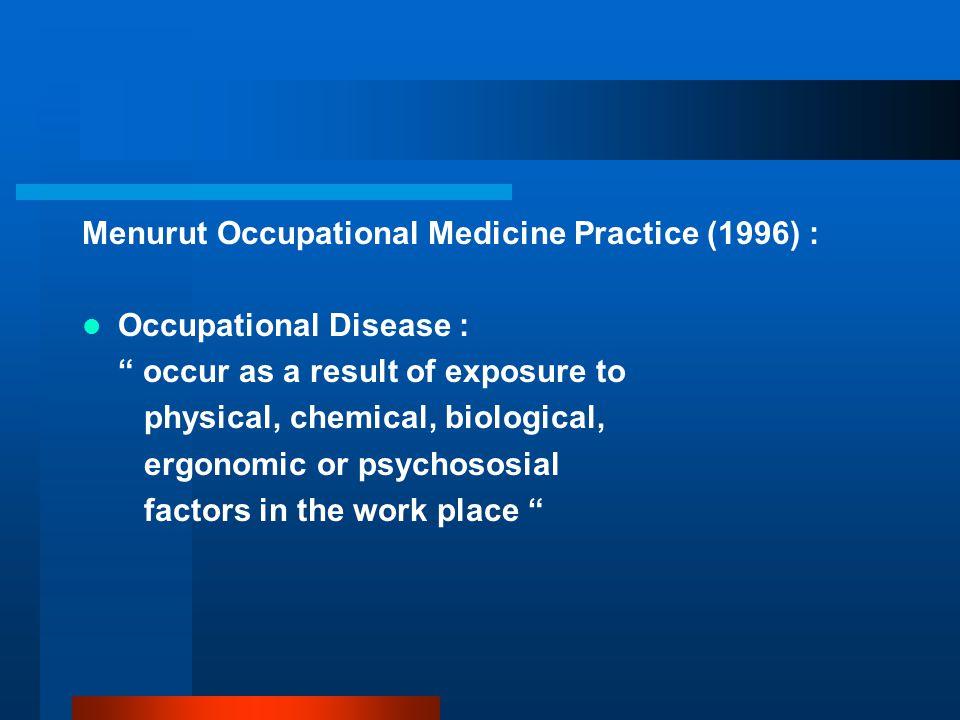 Menurut Occupational Medicine Practice (1996) :