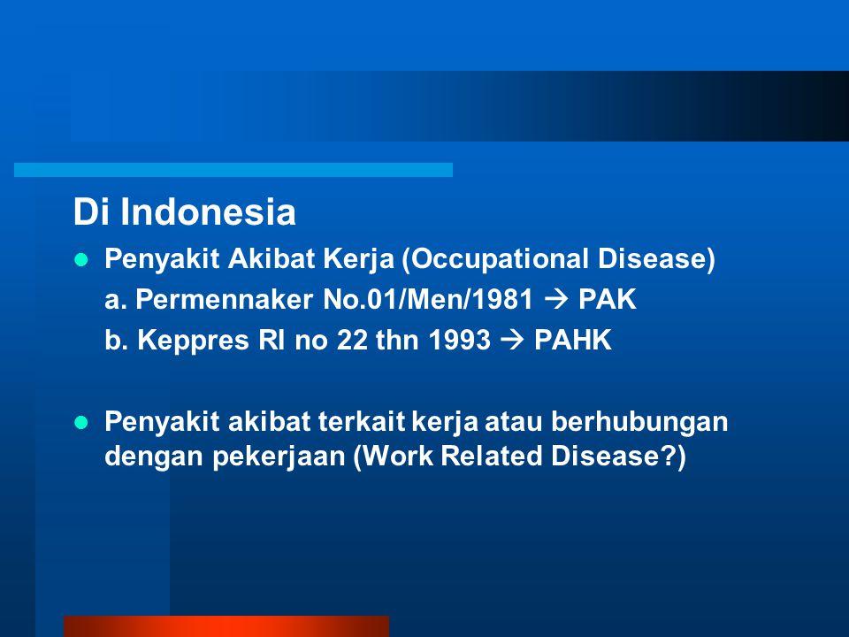 Di Indonesia Penyakit Akibat Kerja (Occupational Disease)