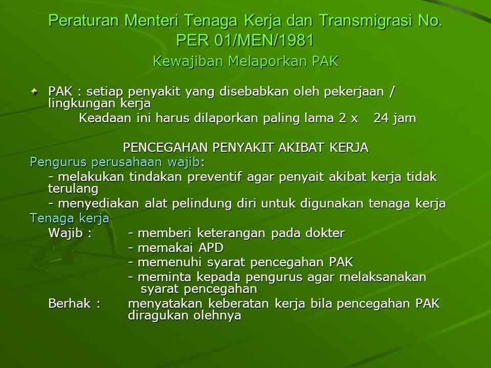 Peraturan Menteri Tenaga Kerja dan Transmigrasi No. PER 01/MEN/1981