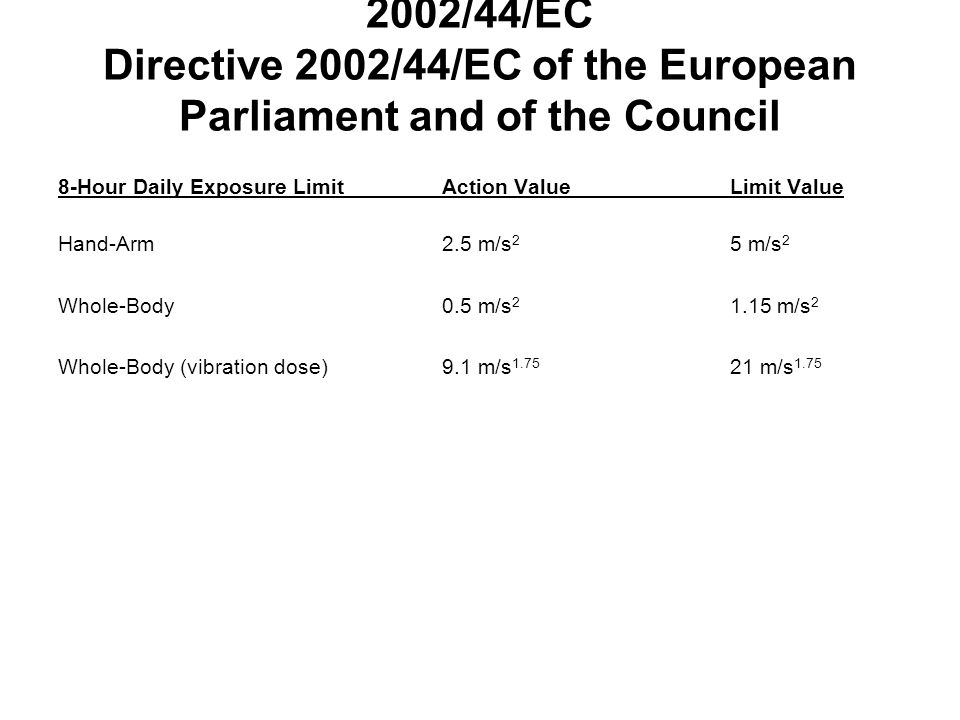 2002/44/EC Directive 2002/44/EC of the European Parliament and of the Council