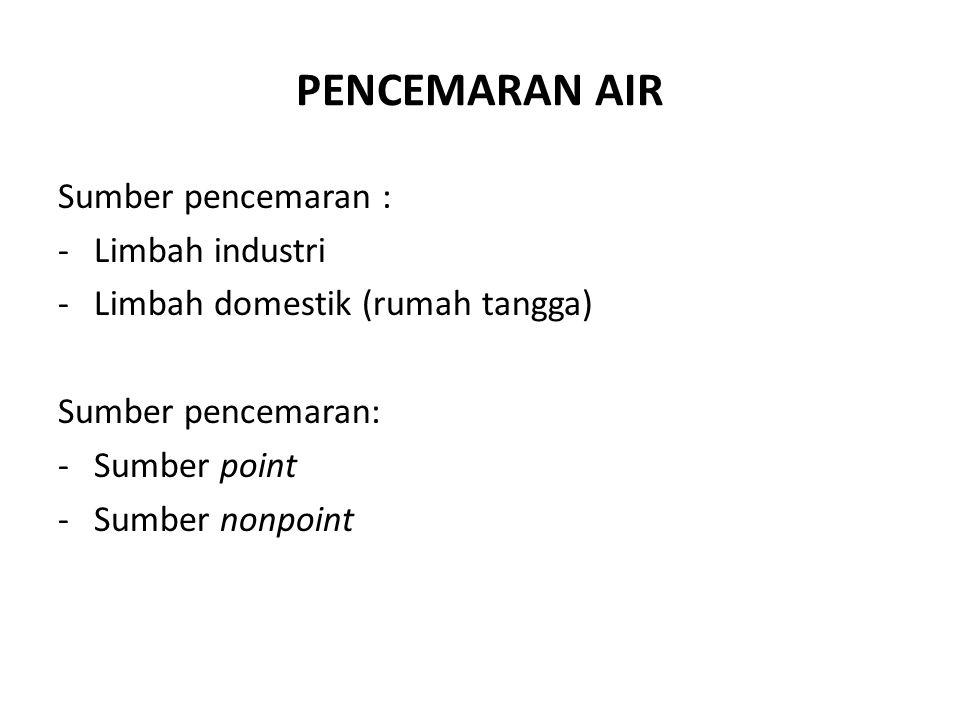 PENCEMARAN AIR Sumber pencemaran : Limbah industri