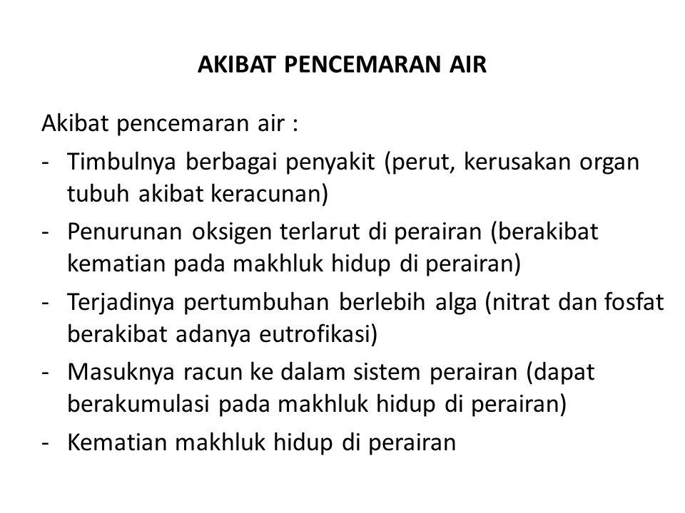 AKIBAT PENCEMARAN AIR Akibat pencemaran air : Timbulnya berbagai penyakit (perut, kerusakan organ tubuh akibat keracunan)