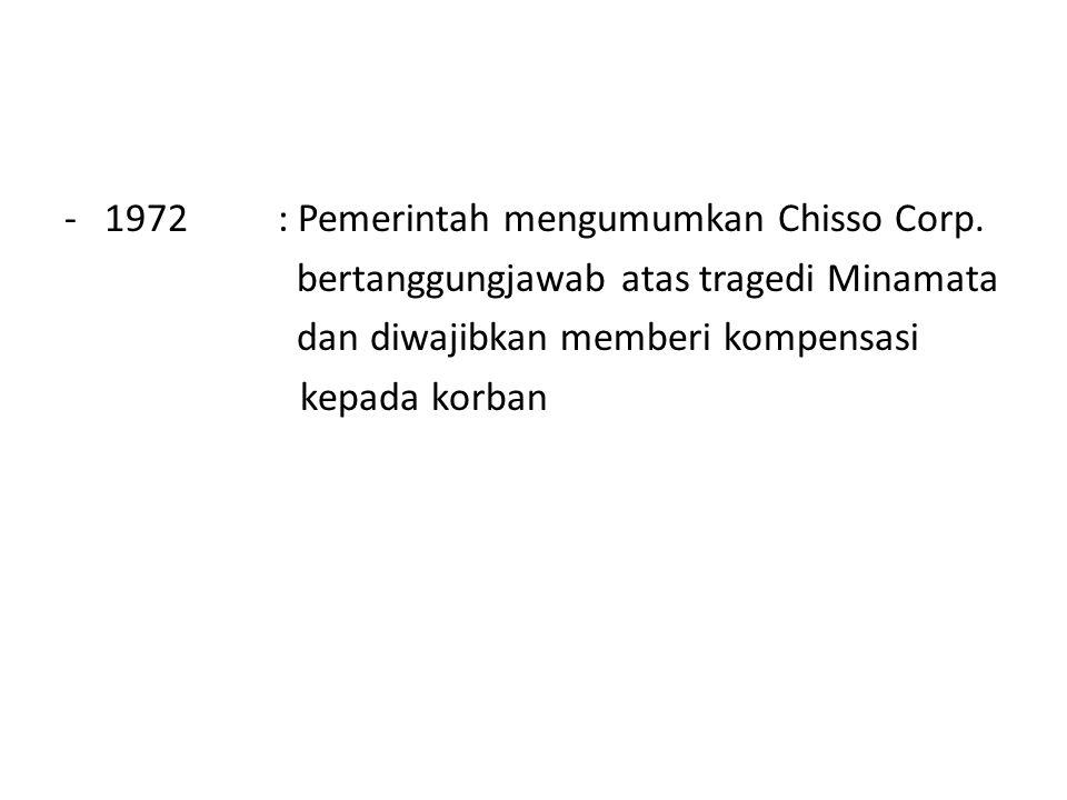 1972 : Pemerintah mengumumkan Chisso Corp.