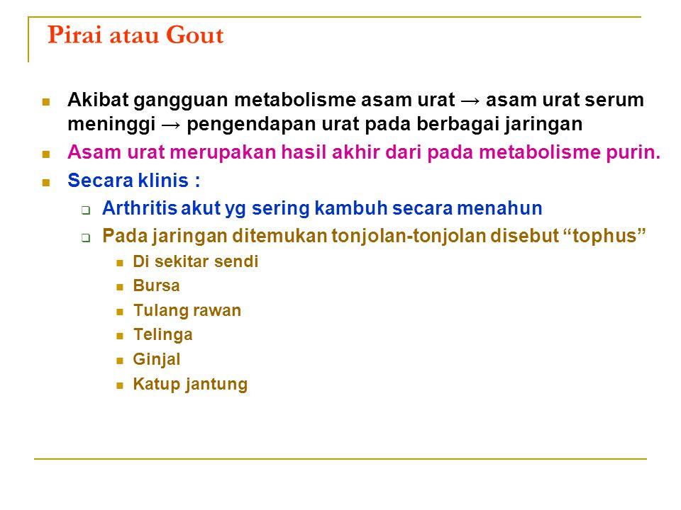 Pirai atau Gout Akibat gangguan metabolisme asam urat → asam urat serum meninggi → pengendapan urat pada berbagai jaringan.