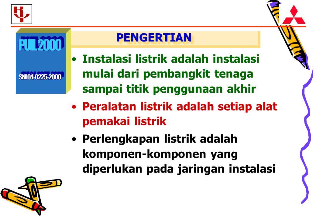 PENGERTIAN SNI 04-0225-2000. PUIL 2000. Instalasi listrik adalah instalasi mulai dari pembangkit tenaga sampai titik penggunaan akhir.
