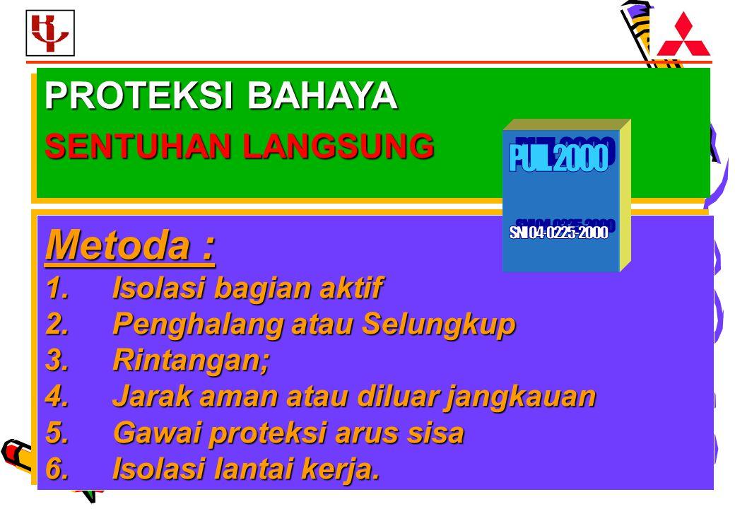 Metoda : PROTEKSI BAHAYA SENTUHAN LANGSUNG PUIL 2000 SNI 04-0225-2000