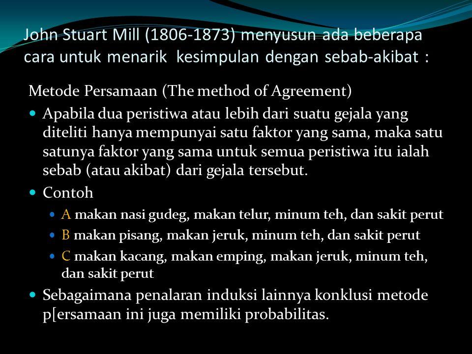 John Stuart Mill (1806-1873) menyusun ada beberapa cara untuk menarik kesimpulan dengan sebab-akibat :