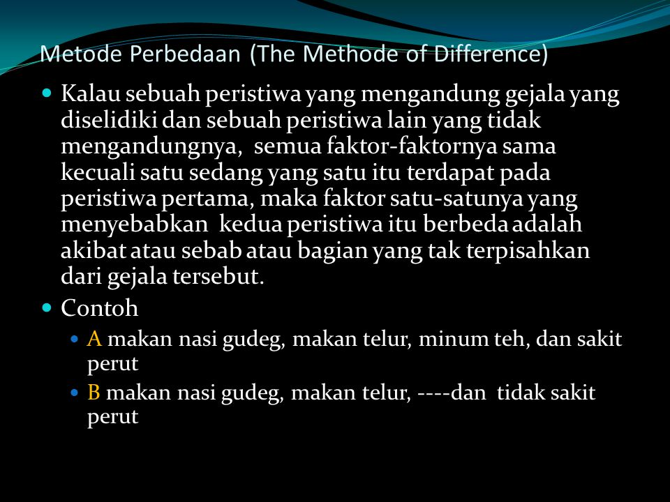 Metode Perbedaan (The Methode of Difference)