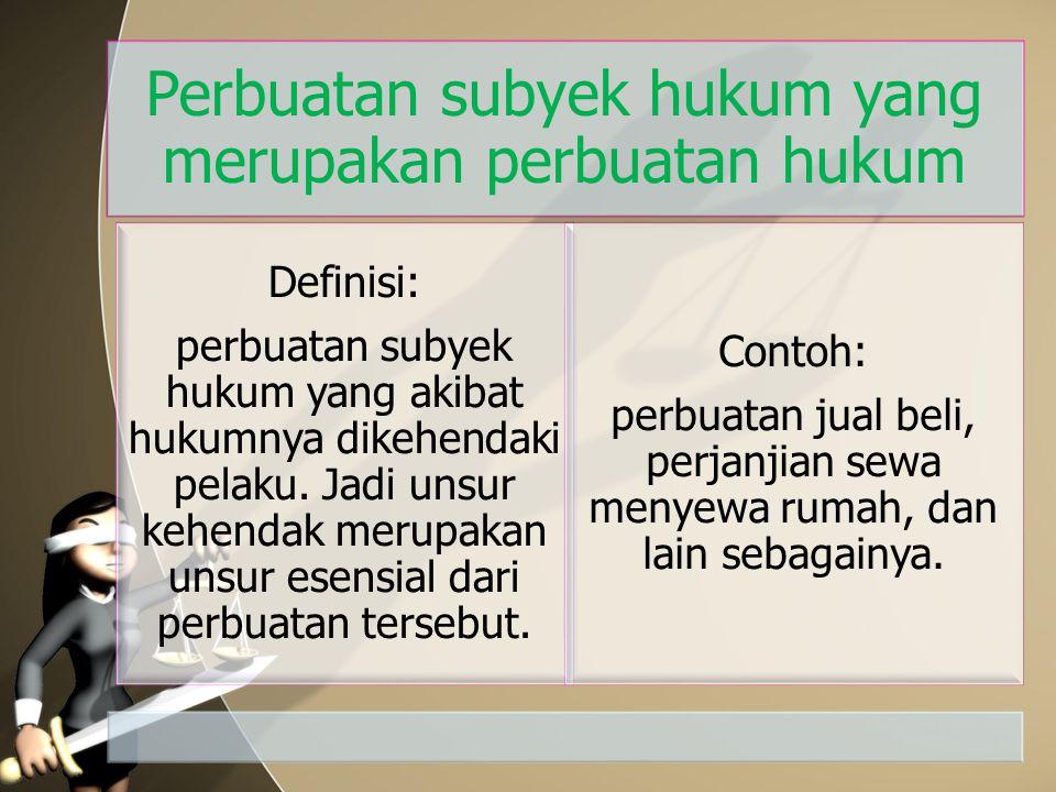 Perbuatan subyek hukum yang merupakan perbuatan hukum