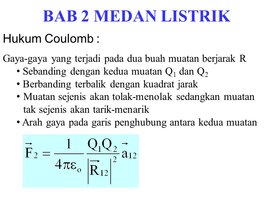 BAB 2 MEDAN LISTRIK Hukum Coulomb :