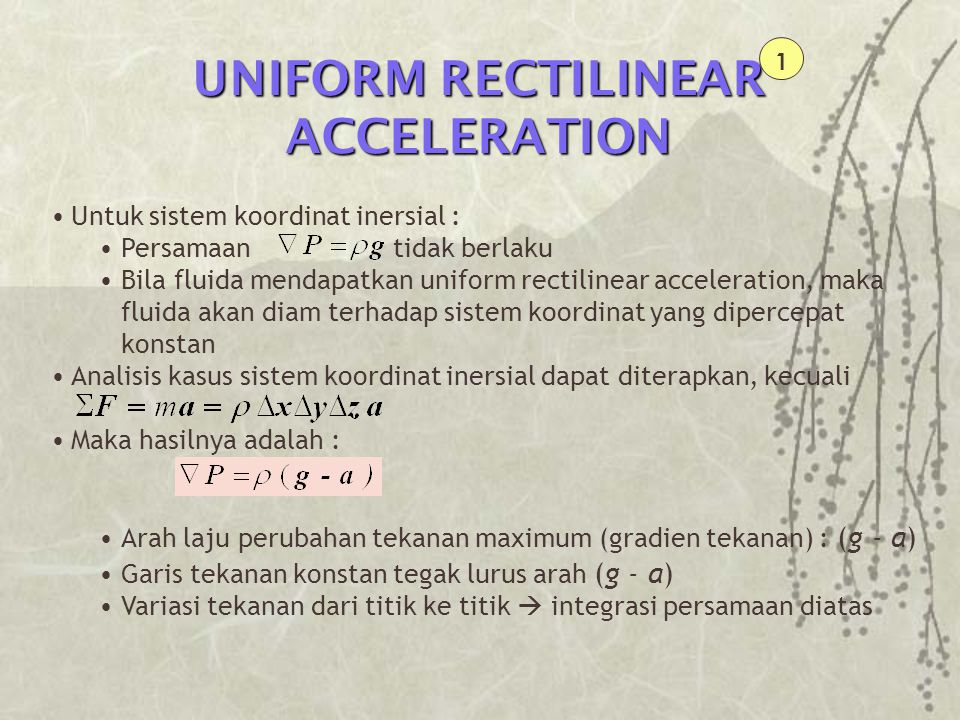 UNIFORM RECTILINEAR ACCELERATION